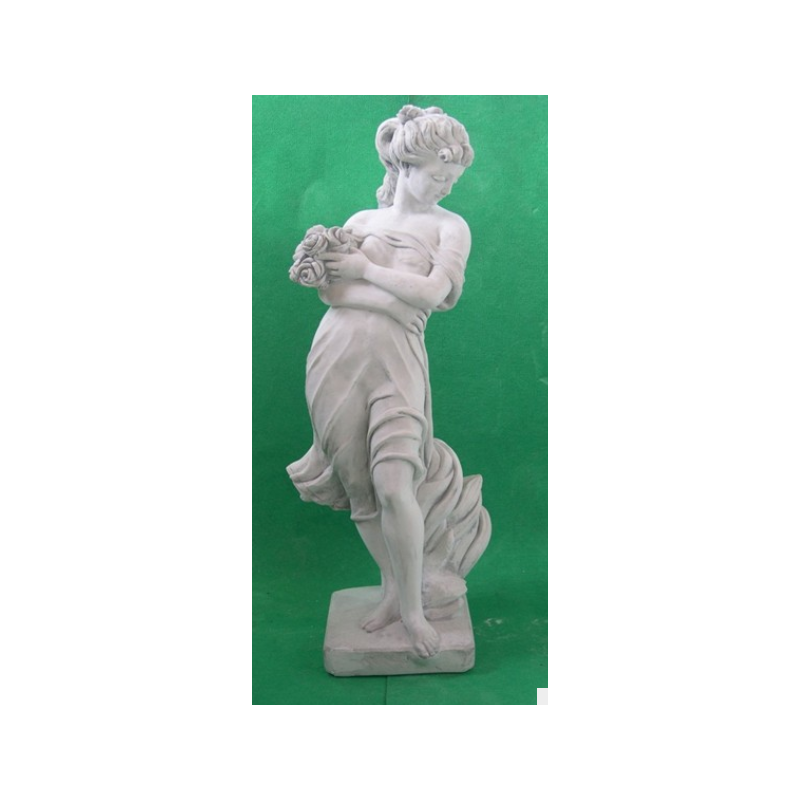 Zahradní socha - dívka s růžemi