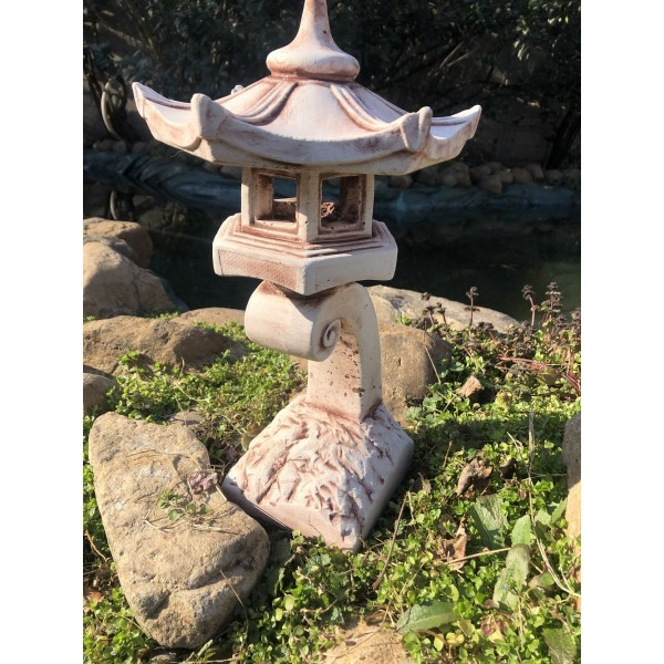 Japonská lampa k vodě malá - hnědou patinou